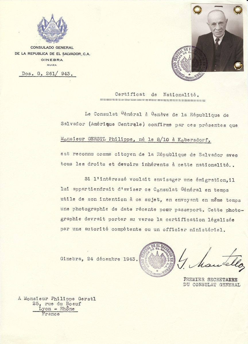 Unauthorized Salvadoran citizenship certificate issued to Philippe Gerstl (b. October 8 [year not noted] in Kobersdorf), by George Mandel-Mantello, First Secretary of the Salvadoran Consulate in Switzerland and sent to his residence in Lyon.