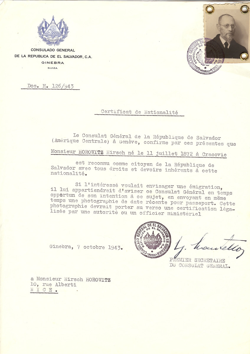 Unauthorized Salvadoran citizenship certificate issued to Hirsch Horowitz (b. July 11, 1872 in Cracovie), by George Mandel-Mantello, First Secretary of the Salvadoran Consulate in Switzerland and sent to his residence in Nice.