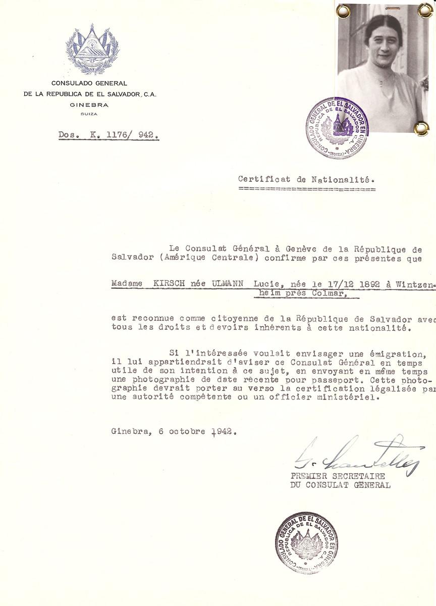 Unauthorized Salvadoran citizenship certificate issued to Lucie (nee Ulmann) Kirsch (b. December 17, 1892 in Wintzenheim, near Colmar), by George Mandel-Mantello, First Secretary of the Salvadoran Consulate in Switzerland.