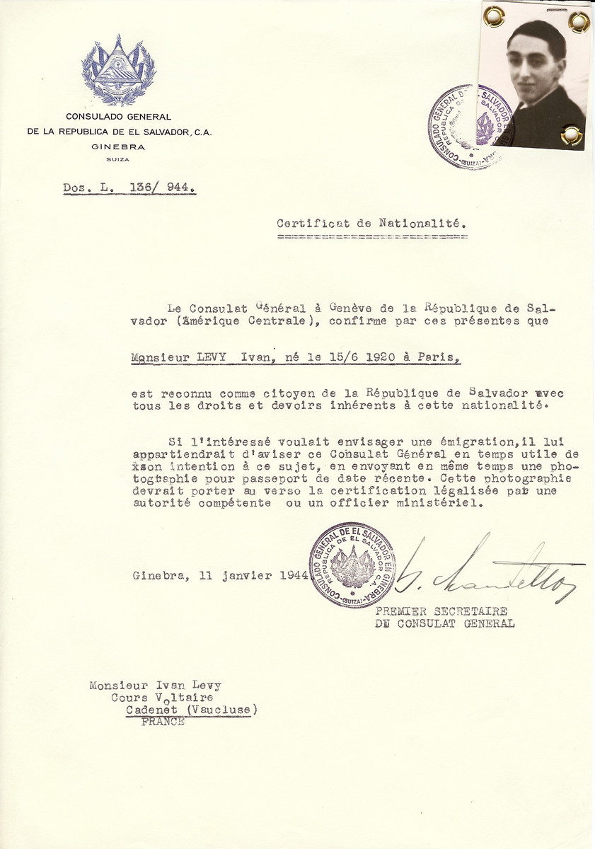Unauthorized Salvadoran citizenship certificate issued to Ivan Levy (b. June 15, 1920 in Paris) by George Mandel-Mantello, First Secretary of the Salvadoran Consulate in Switzerland and sent to him in Cadenet.