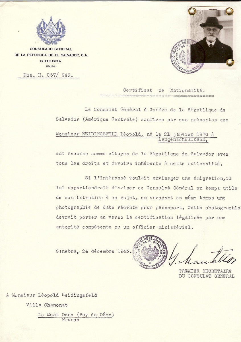 Unauthorized Salvadoran citizenship certificate issued to Leopold Heidingsfeld (b. January 21, 1870), by George Mandel-Mantello, First Secretary of the Salvadoran Consulate in Switzerland and sent to him at Le Mont Dore.