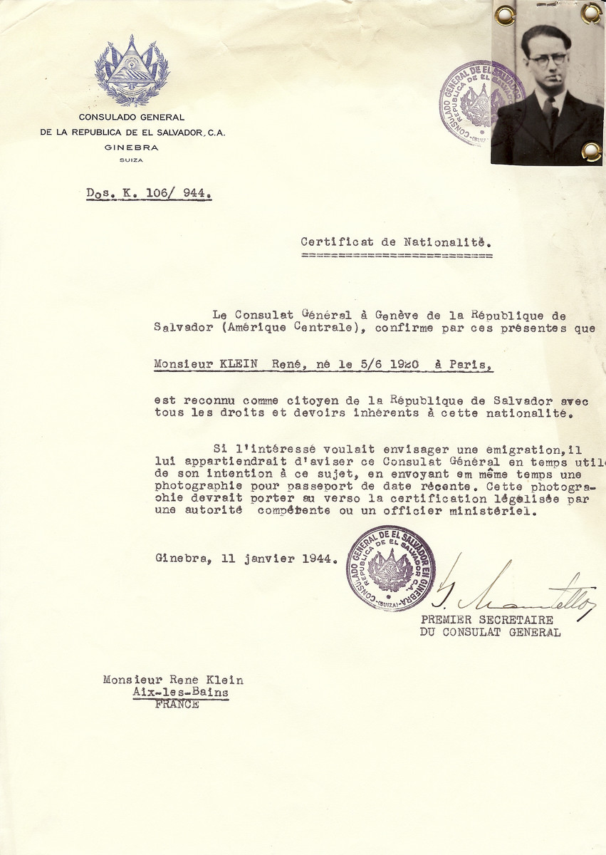 Unauthorized Salvadoran citizenship certificate issued to Rene Klein (b. June 5, 1920 in Paris), by George Mandel-Mantello, First Secretary of the Salvadoran Consulate in Switzerland and sent to him in Aix-les-Bains.