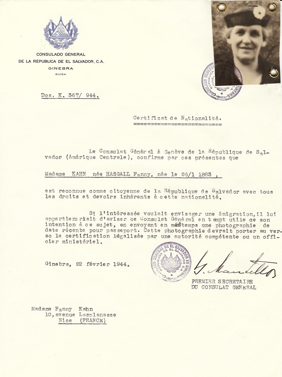 Unauthorized Salvadoran citizenship certificate issued to Fanny (Hasgall) Kahn (b. January 25, 1883), by George Mandel-Mantello, First Secretary of the Salvadoran Consulate in Switzerland and sent to her residence in Nice.