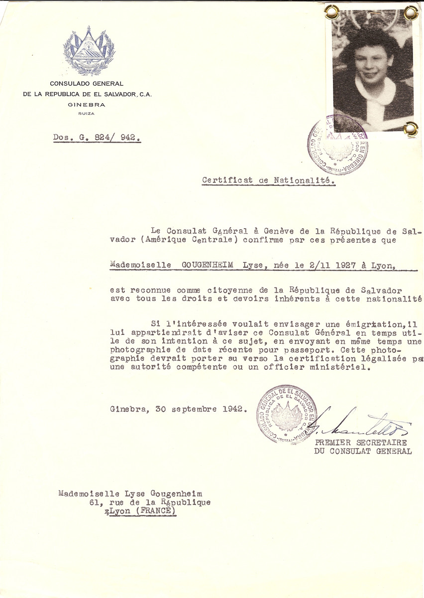 Unauthorized Salvadoran citizenship certificate issued to Lyse Gougenheim (b. 2/11/1937 in Lyon), by George Mandel-Mantello, First Secretary of the Salvadoran Consulate in Switzerland and sent to her residence in Lyon.