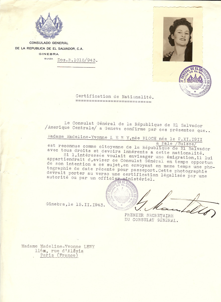 Unauthorized Salvadoran citizenship certificate issued to Madeline-Yvonne (nee Bloch) Lewy (b. October 2, 1911 in Basle) by George Mandel-Mantello, First Secretary of the Salvadoran Consulate in Switzerland and sent to her residence in Paris.