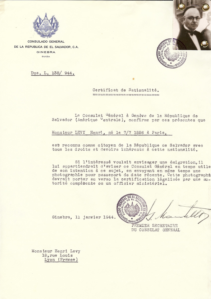 Unauthorized Salvadoran citizenship certificate issued to Henri Levy (b. July 7, 1886 in Paris) by George Mandel-Mantello, First Secretary of the Salvadoran Consulate in Switzerland and sent to him in Lyon.