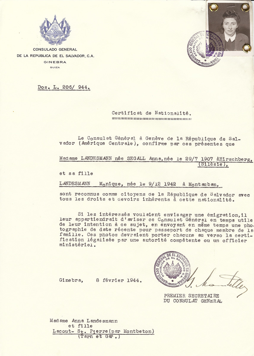 Unauthorized Salvadoran citizenship certificate issued to Anne (nee Segal) Landesmann (b. July 29, 1907 in Silesia) and her daughter Monique (b. December 9, 1942 in Montaubon) by George Mandel-Mantello, First Secretary of the Salvadoran Consulate in Switzerland.