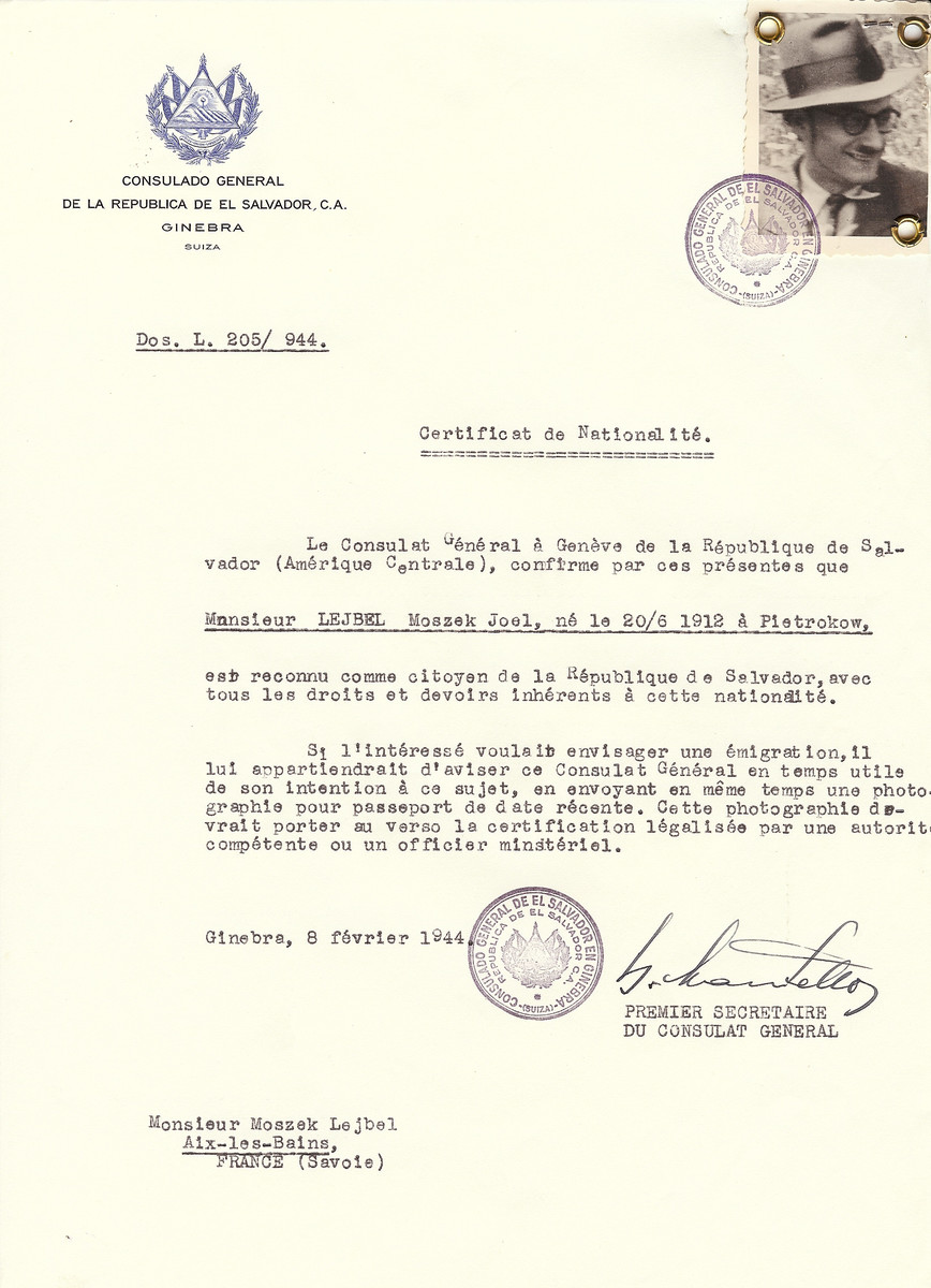 Unauthorized Salvadoran citizenship certificate issued to Moszek Joel Lejbel (b. June 20, 1912 in Pietrokow) by George Mandel-Mantello, First Secretary of the Salvadoran Consulate in Switzerland and sent to him in Aix-les-Bains.