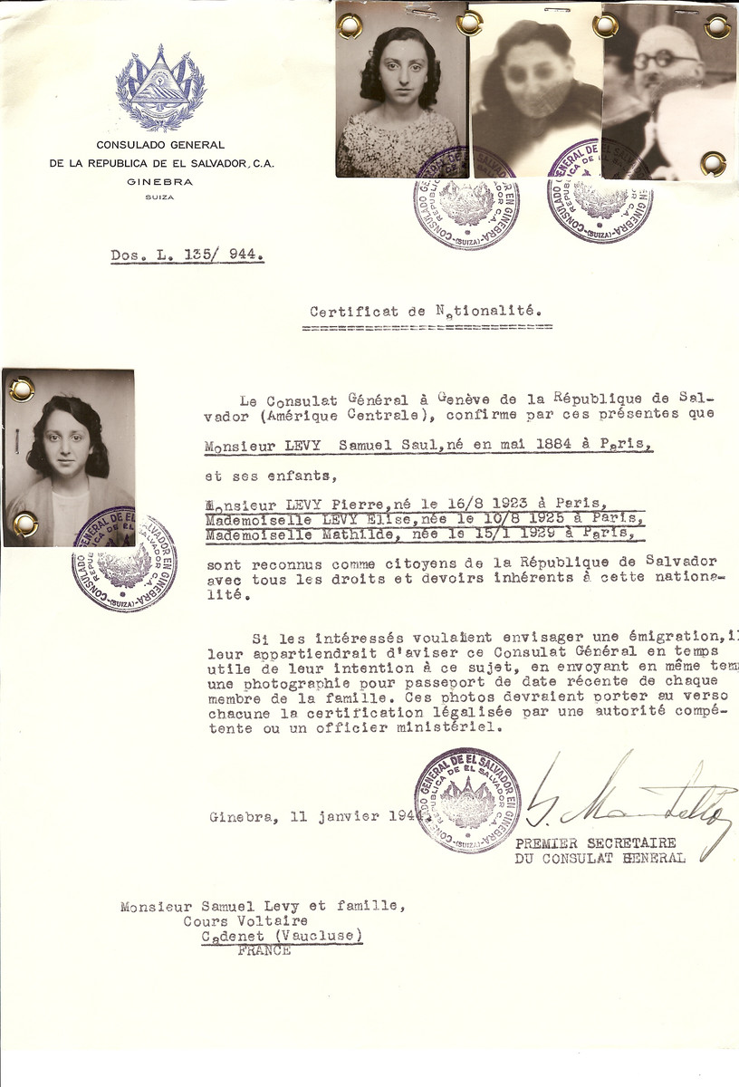 Unauthorized Salvadoran citizenship certificate issued to Samuel Saul Levy (b. May 1884 in Paris) and his children Pierre (b. August 16, 1923), Elise (b. August 10, 1925) and Mathilde (b. January 15, 1929) by George Mandel-Mantello, First Secretary of the Salvadoran Consulate in Switzerland and sent to them in Cadenet.