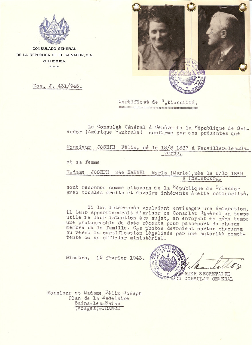 Unauthorized Salvadoran citizenship certificate issued to Felix Joseph (b. August 18, 1887 in Neuviller-les-Saverne) and his wife Myria (Marie) (Haenel) Joseph (b. October 6, 1889 in Phalsbourg), by George Mandel-Mantello, First Secretary of the Salvadoran Consulate in Switzerland and sent to their residence in Bains-les-Bains.