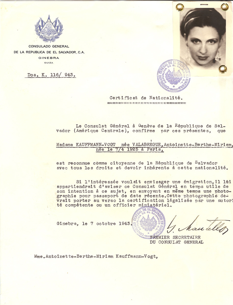 Unauthorized Salvadoran citizenship certificate issued to Antoinette-Berthe-Miriam (Valabregue) Kauffmann-Vogt (b. April 7, 1925 in Paris), by George Mandel-Mantello, First Secretary of the Salvadoran Consulate in Switzerland.