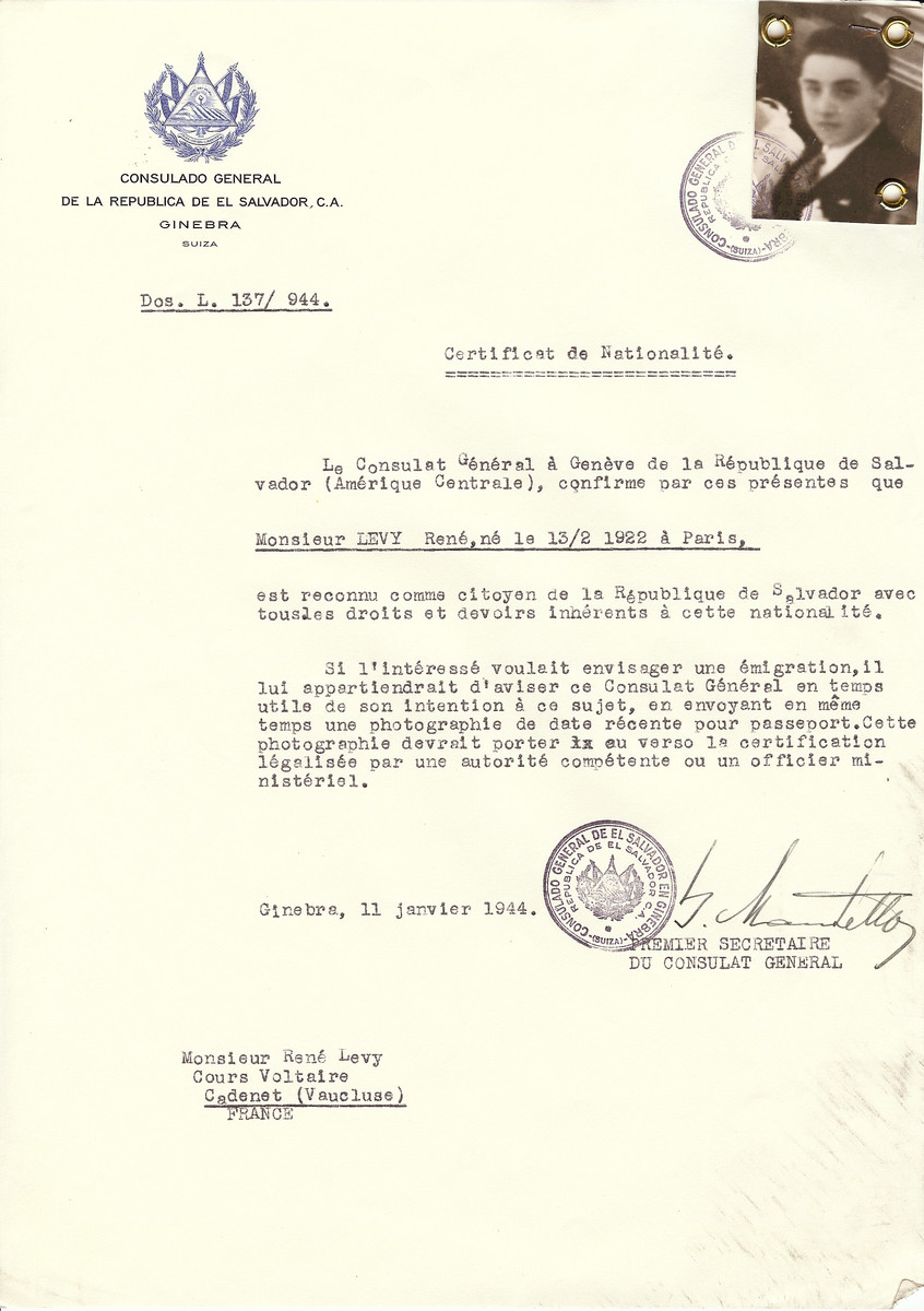 Unauthorized Salvadoran citizenship certificate issued to Rene Levy (b. February 13, 1922 in Paris) by George Mandel-Mantello, First Secretary of the Salvadoran Consulate in Switzerland and sent to him in Cadenet.