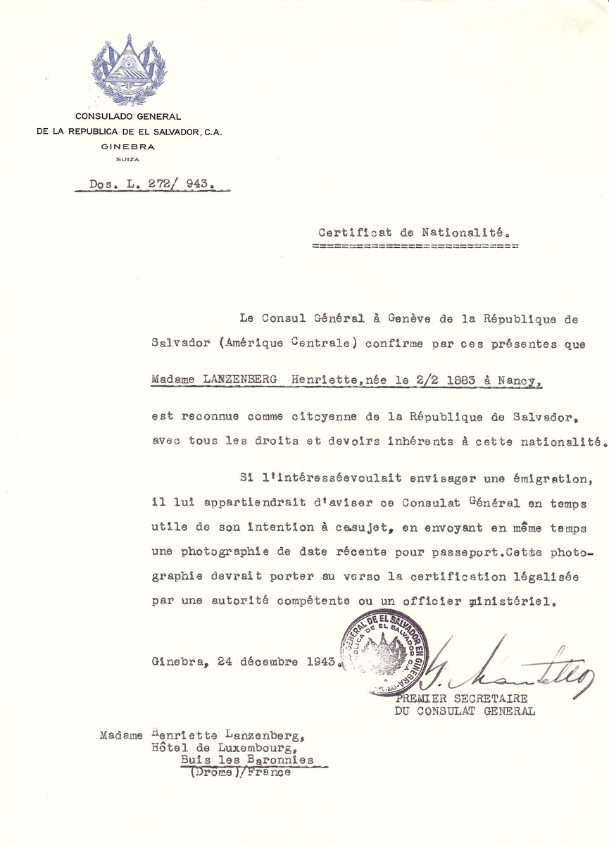Unauthorized Salvadoran citizenship certificate issued to Henriette Lanzenberg (b. February 2, 1883 in Nancy) by George Mandel-Mantello, First Secretary of the Salvadoran Consulate in Switzerland.