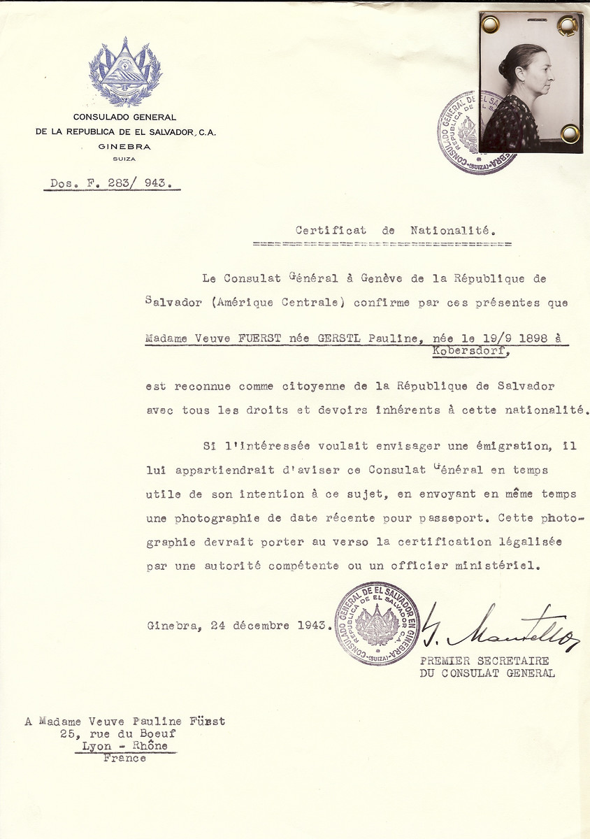 Unauthorized Salvadoran citizenship certificate issued to Pauline (Gerstl) Fuerst, a widow, (b. September 19, 1898 in Kobersdorf), by George Mandel-Mantello, First Secretary of the Salvadoran Consulate in Switzerland and sent to her residence in Lyon.