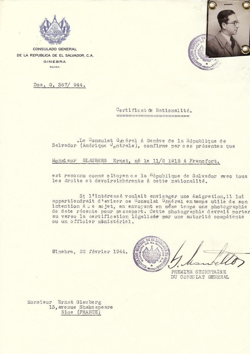 Unauthorized Salvadoran citizenship certificate issued to Philippe Gerstl (b. February 11, 1915 in Frankfurt), by George Mandel-Mantello, First Secretary of the Salvadoran Consulate in Switzerland and sent to his residence in Nice.