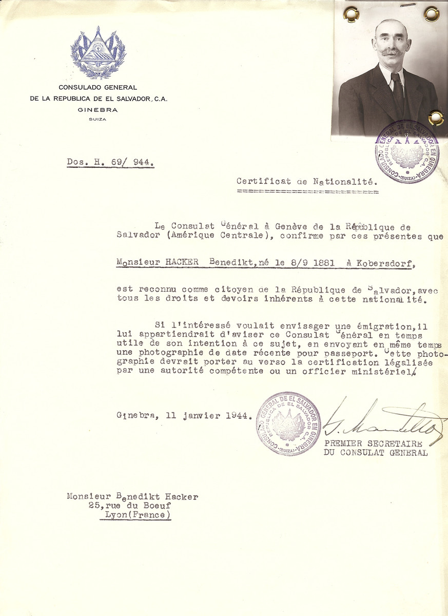 Unauthorized Salvadoran citizenship certificate issued to Benedikt Hacker (b. September 8, 1881 in Kobersdorf), by George Mandel-Mantello, First Secretary of the Salvadoran Consulate in Switzerland and sent to his residence in Lyon.