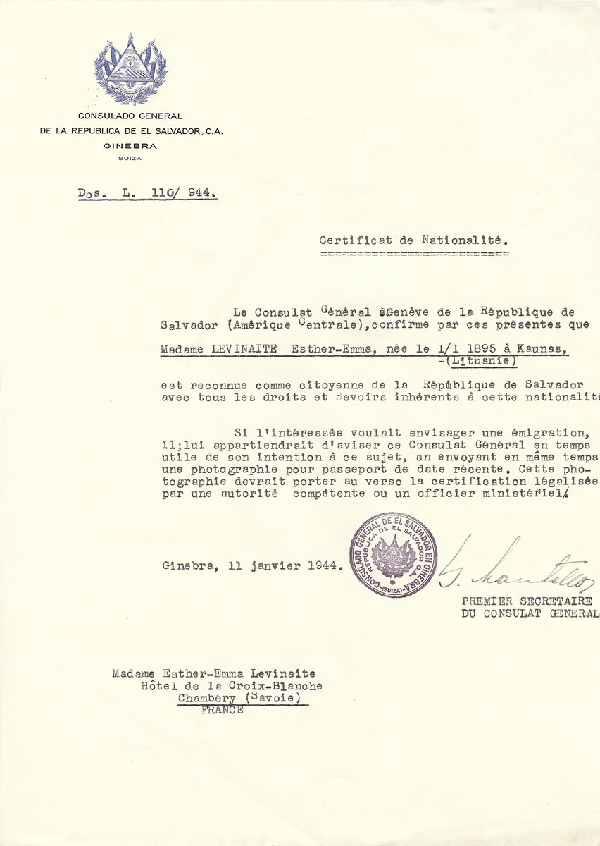 Unauthorized Salvadoran citizenship certificate issued to Esther Emma Levinaite (b. January 1, 1895 in Kaunas) by George Mandel-Mantello, First Secretary of the Salvadoran Consulate in Switzerland and sent to her in Chambery.
