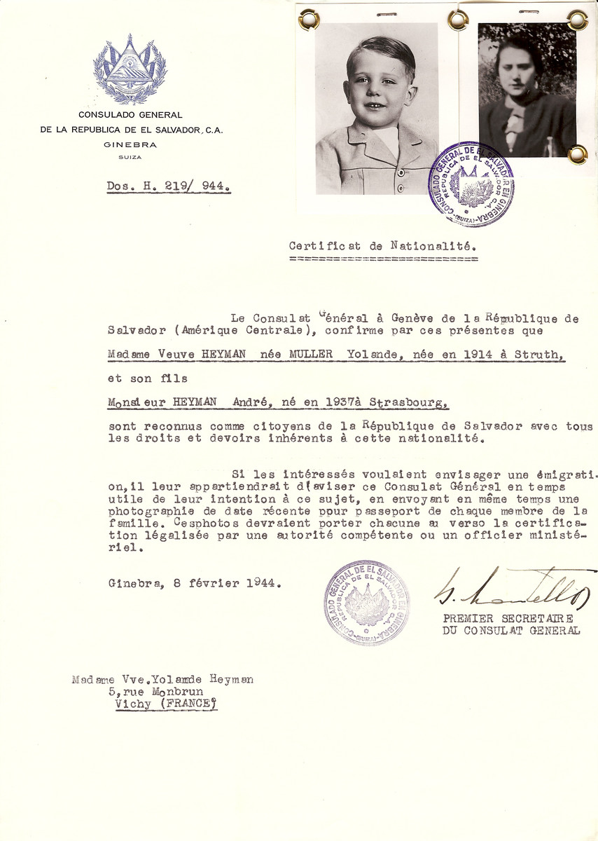 Unauthorized Salvadoran citizenship certificate issued to Yolande (Muller) Heyman, a widow, (b. 1914 in Struth) and her son Andre Heyman (b. 1937 in Strasbourg), by George Mandel-Mantello, First Secretary of the Salvadoran Consulate in Switzerland and sent to their residence in Vichy.