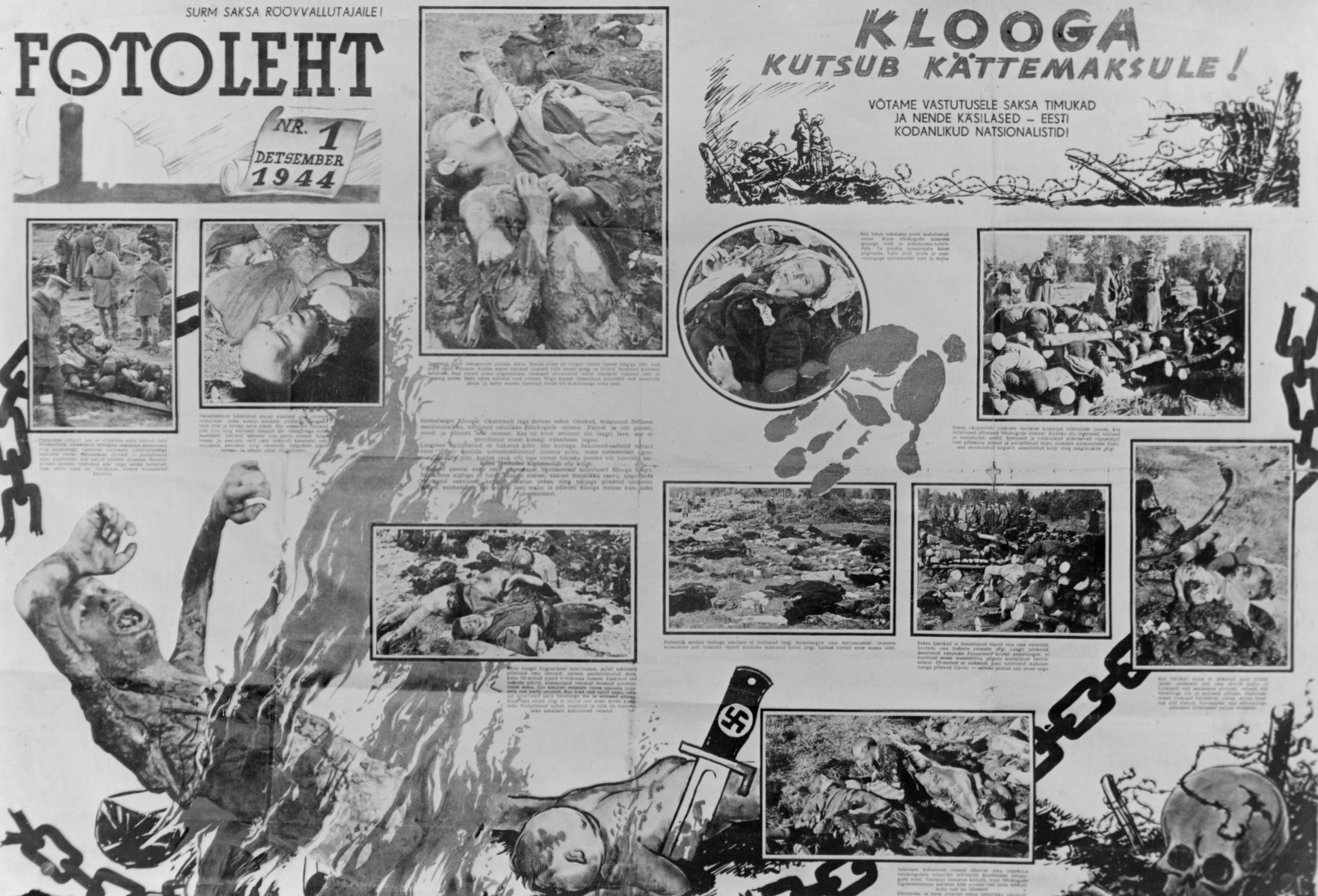 An Estonian poster that includes photographs and drawings depicting the atrocities that took place in the Klooga concentration camp.