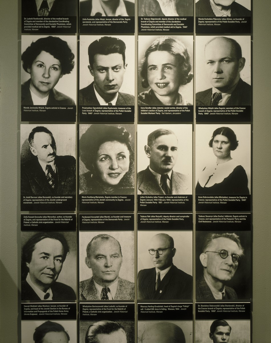 Detail of the photo mural of members of the Zegota (Council for Aid to Jews) underground displayed on the second floor of the permanent exhibition at the U.S. Holocaust Memorial Museum.