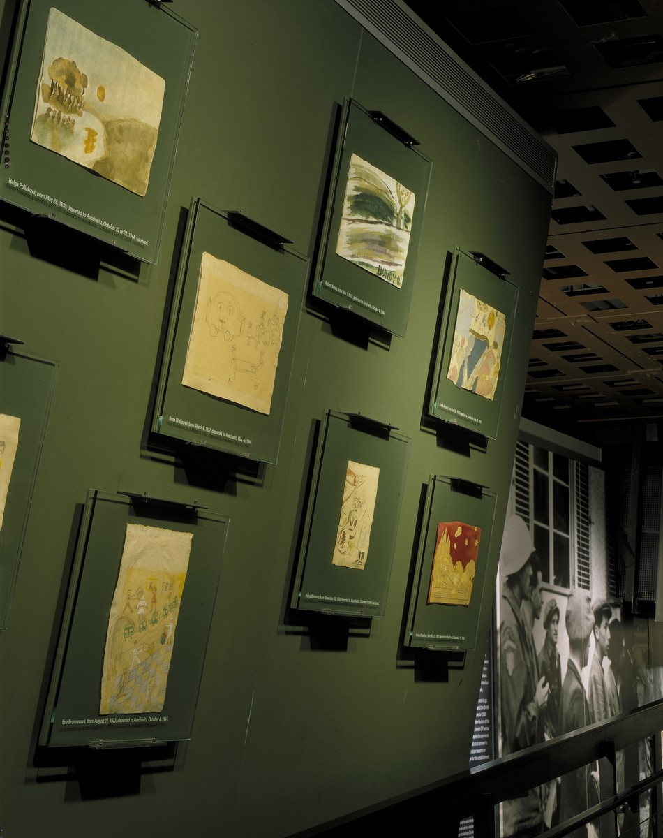 Wall of Theresienstadt children's drawings on the second floor of the permanent exhibition at the U.S. Holocaust Memorial Museum.