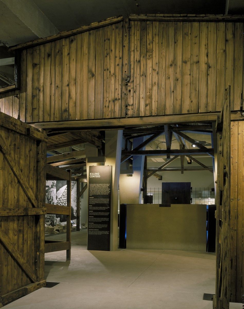 View of the entrance to the reconstructed Auschwitz barracks displayed on the third floor of the permanent exhibition at the U.S. Holocaust Memorial Museum.