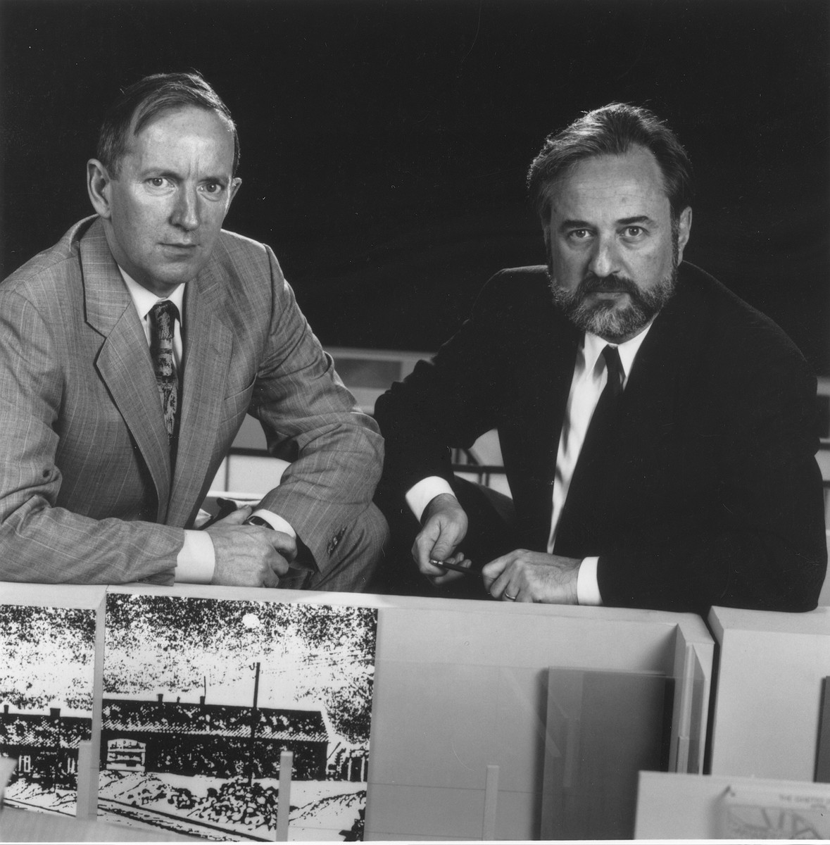 Permanent exhibition director Martin Smith and designer Ralph Appelbaum pose next to the models for the permanent exhibition at the U.S. Holocaust Memorial Museum.
