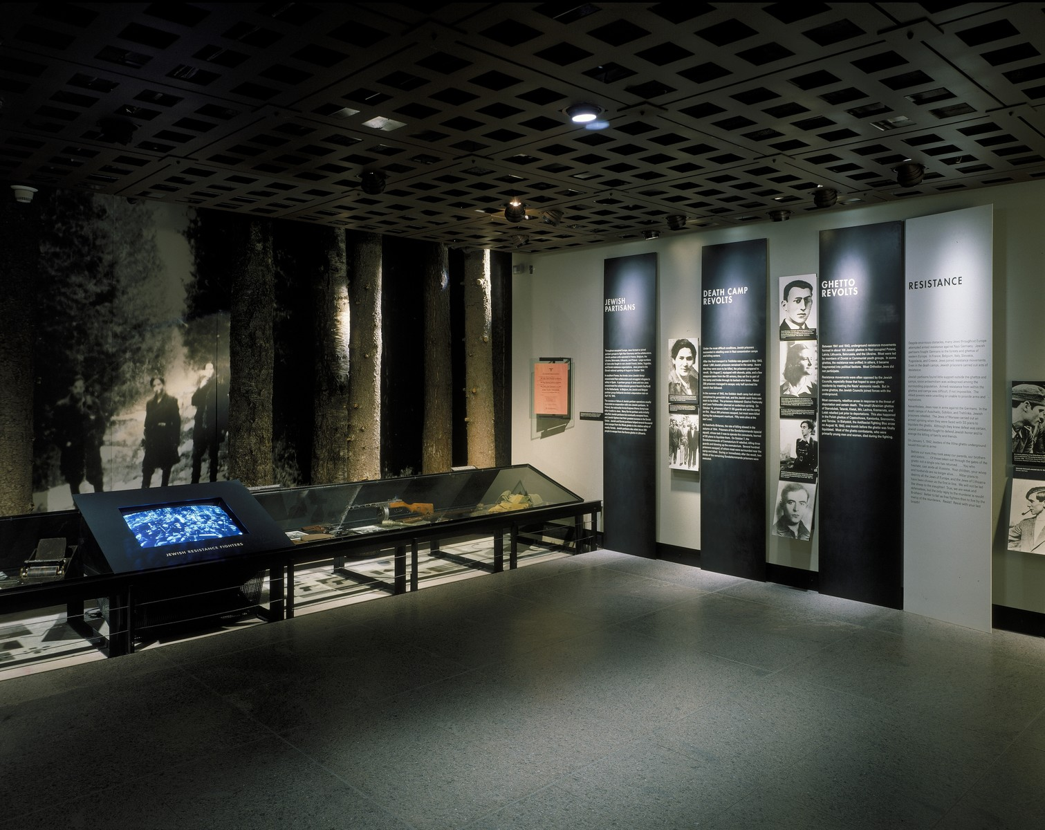 "View of the Resistance segment on the second floor of the permanent exhibition at the U.S. Holocaust Memorial Museum, including the ""Partisans"", ""Jewish Partisans"", ""Death Camp Revolts"" and ""Ghetto Revolts"" panels."