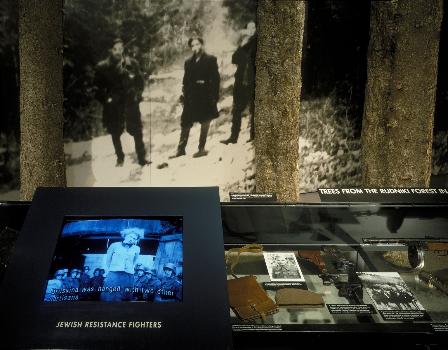 View of the segment on armed Jewish resistance on the second floor of the permanent exhibition at the U.S. Holocaust Memorial Museum.