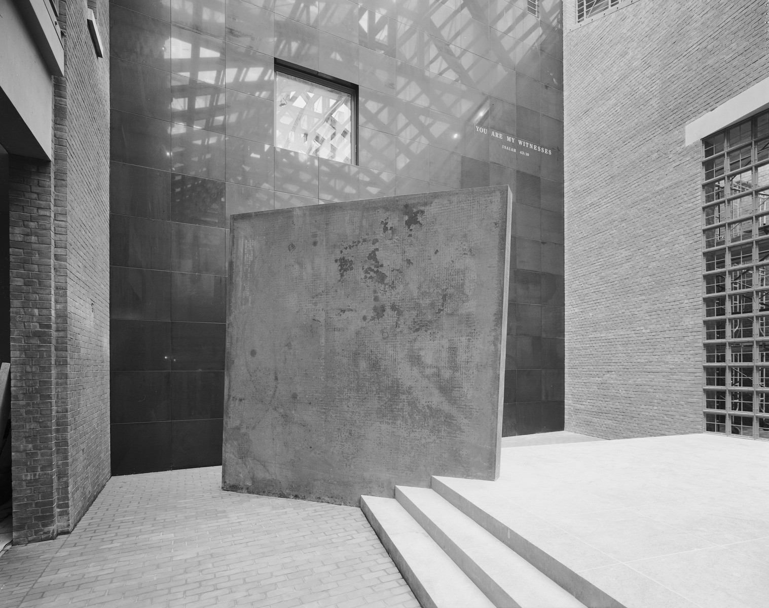 "Sculpture entitled ""Gravity"" by Richard Serra, displayed in the Hall of Witness of the U.S. Holocaust Memorial Museum."