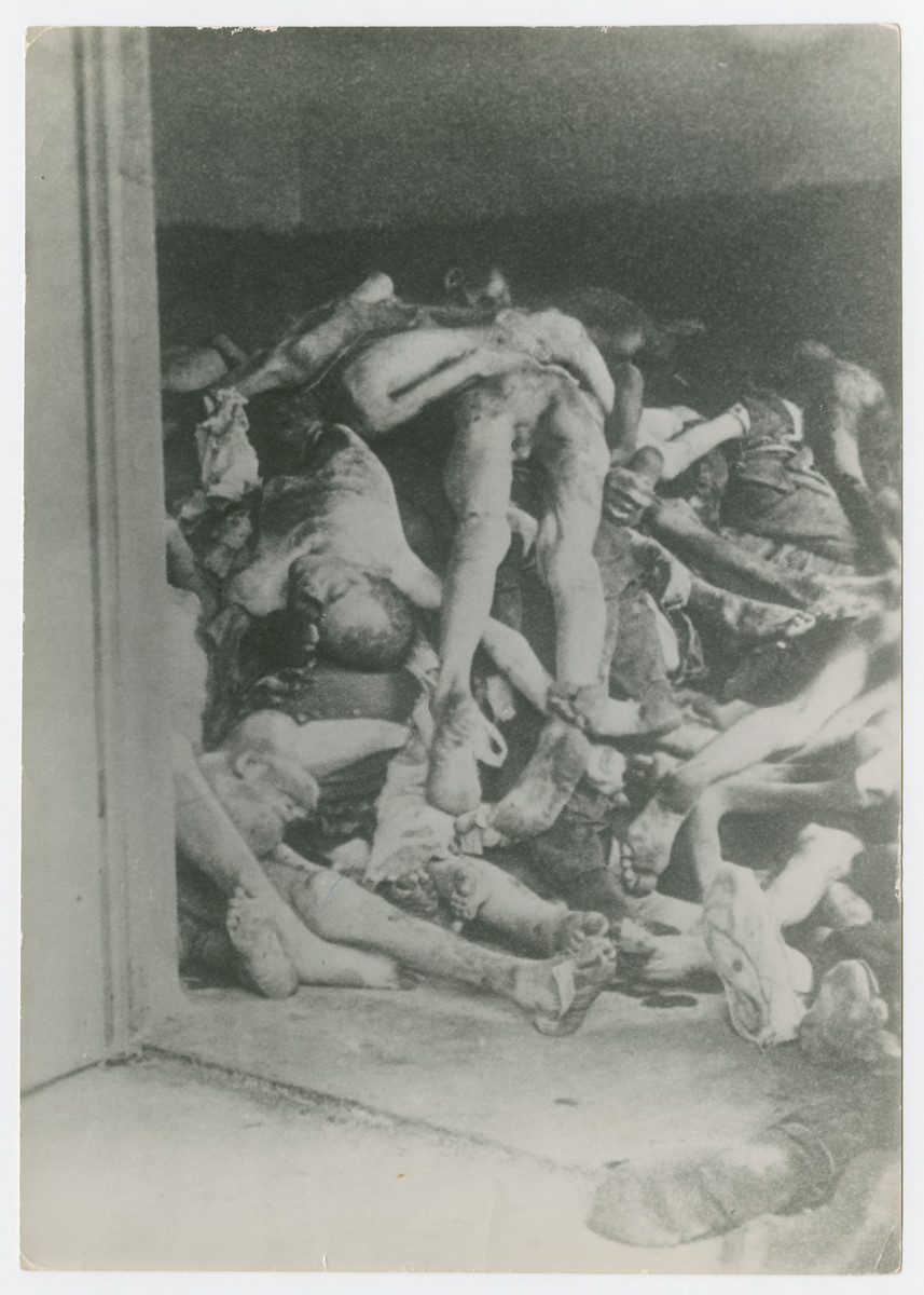 Corpses piled in the mortuary below the crematorium.  This room became so full of bodies that SS staff and survivors eventually put corpses out behind the crematorium, where they were found by U.S. troops during the liberation of the camp.