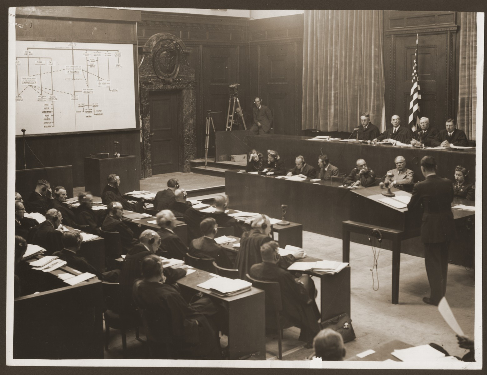 Courtroom scene during a session of the Medical Case (Doctors') Trial in Nuremberg.   The defense lawyers (bottom left) and the Military Tribunal I (upper right) hear the presentation of evidence.