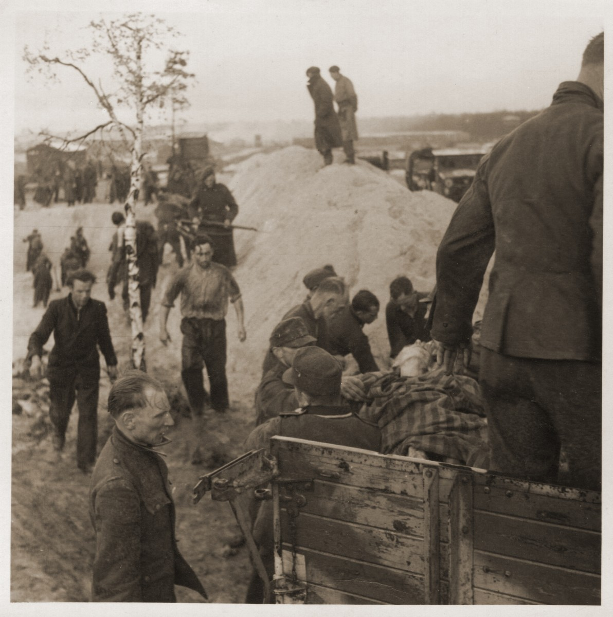 Former SS guards prepare to bury corpses for burial in a mass grave.