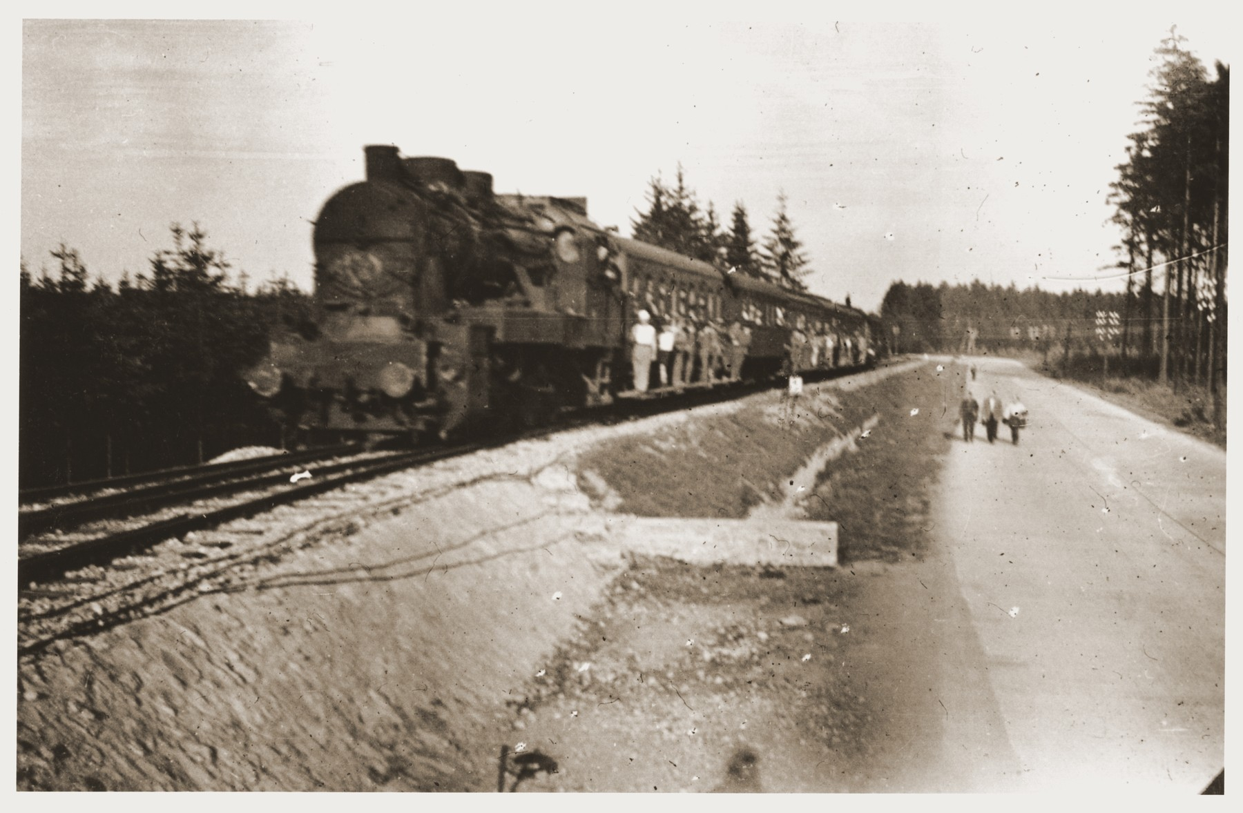 View of a repatriation train leaving Buchenwald.