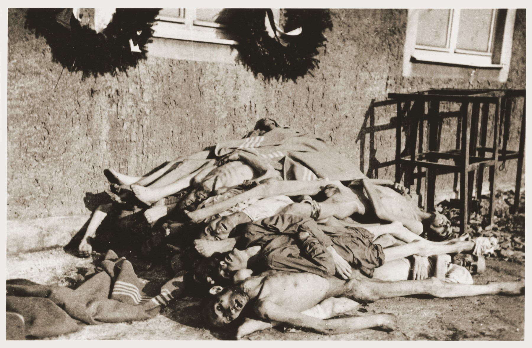 Corpses at Buchenwald concentration camp photographed very shortly after liberation.