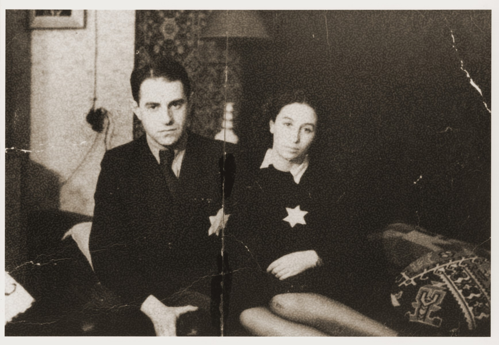 Deputy Police Chief Yehuda Zupovitz poses with his wife, Dita, in their apartment in the Kovno ghetto two weeks before his arrest.