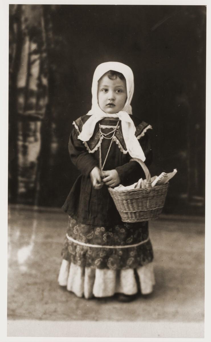 Milan Goldberger (son of Cantor Eugene Goldberger and Helen Berkovic Goldberger) dressed in a Purim costume.