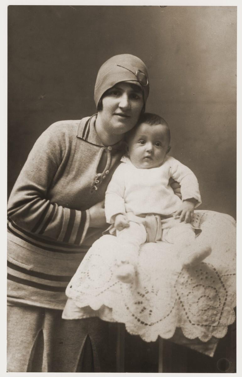Portrait of Helen Berkovic Goldberger and her son, Milan.