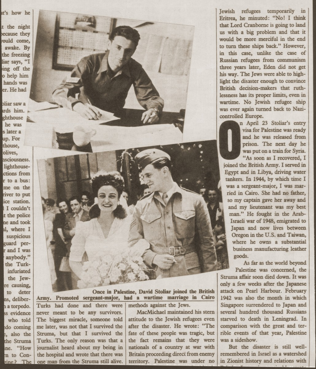 Two snapshots of David Stoliar that appeared in the Sunday Times: at his office in Cairo, and after his wedding in Cairo.
