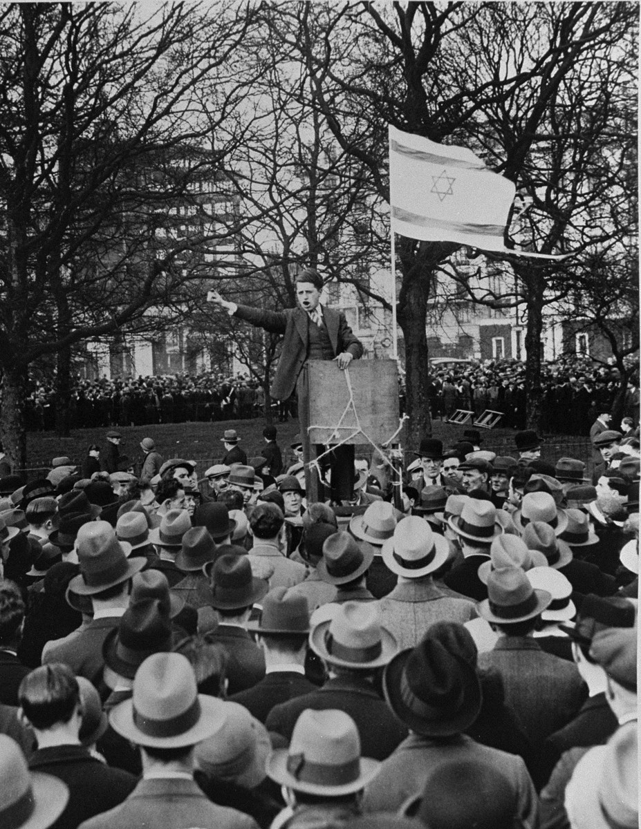 A speaker addresses a mass demonstration in Hyde Park to protest against the Nazi persecution of German Jews.