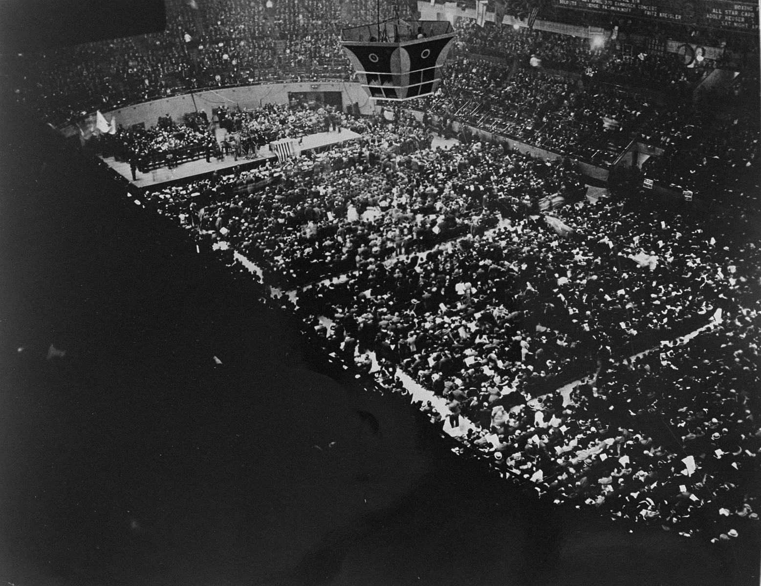 View from above of a mass meeting in Madison Square Garden to protest the Nazi persecution of German Jews.