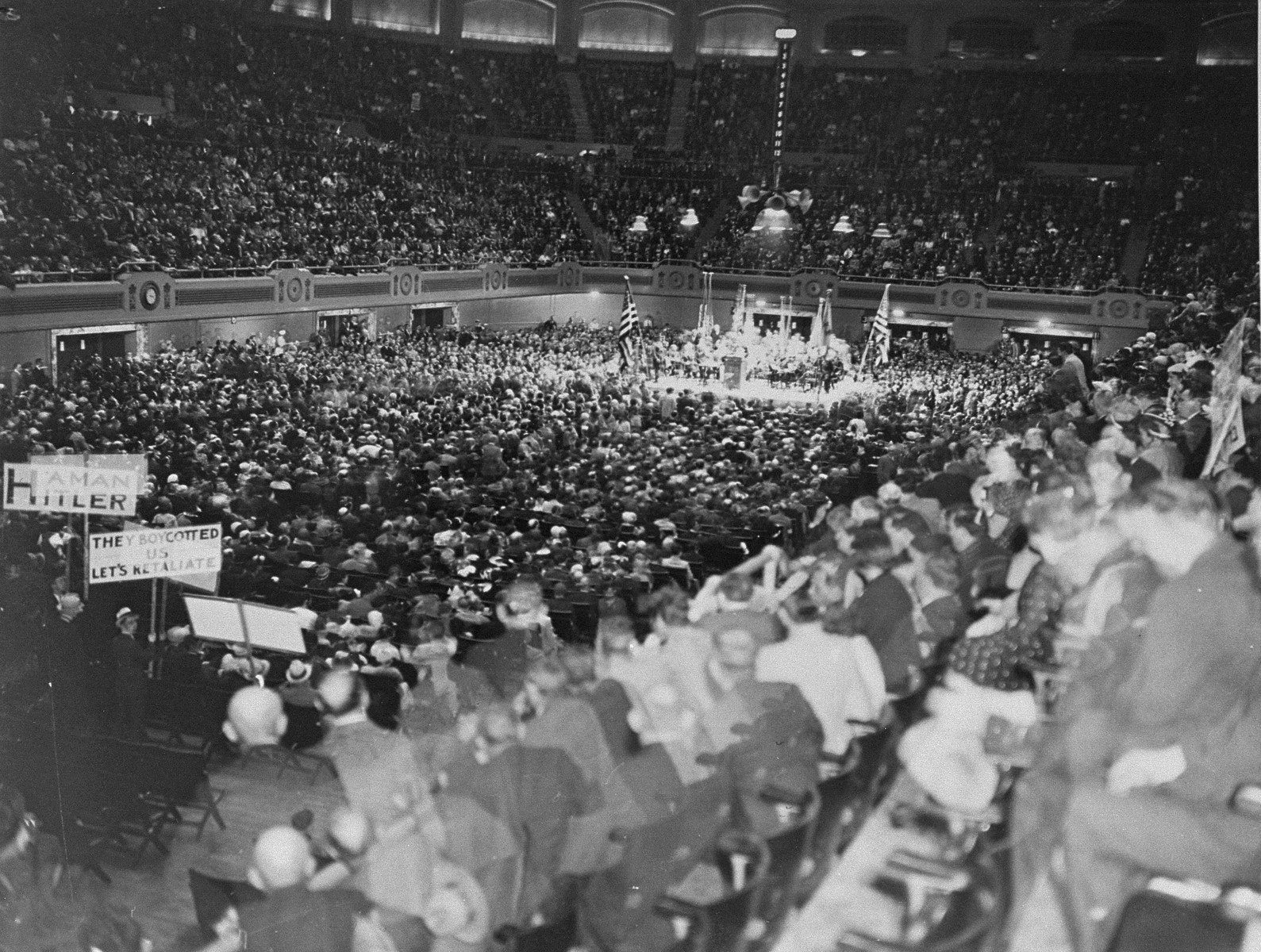 Thousands gather at an indoor arena in Cleveland to protest against the Nazi persecution of German Jews.