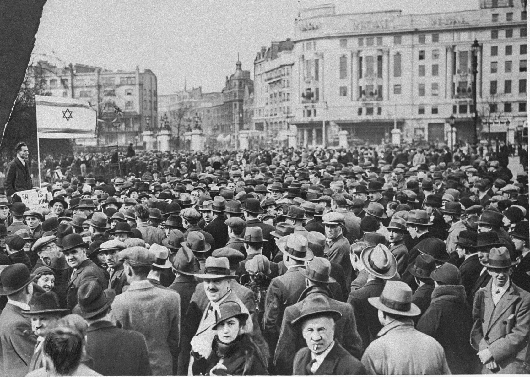 British Jews protest against the enactment of anti-Jewish legislation in Nazi Germany at a rally in London.