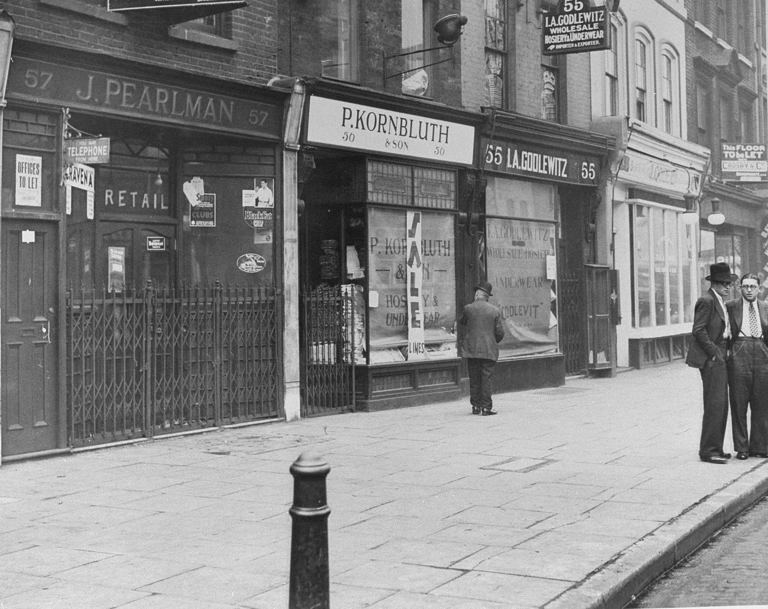 View of a street in Whitechapel where all the Jewish businesses remain closed to protest against the Nazi persecution of German Jewry.
