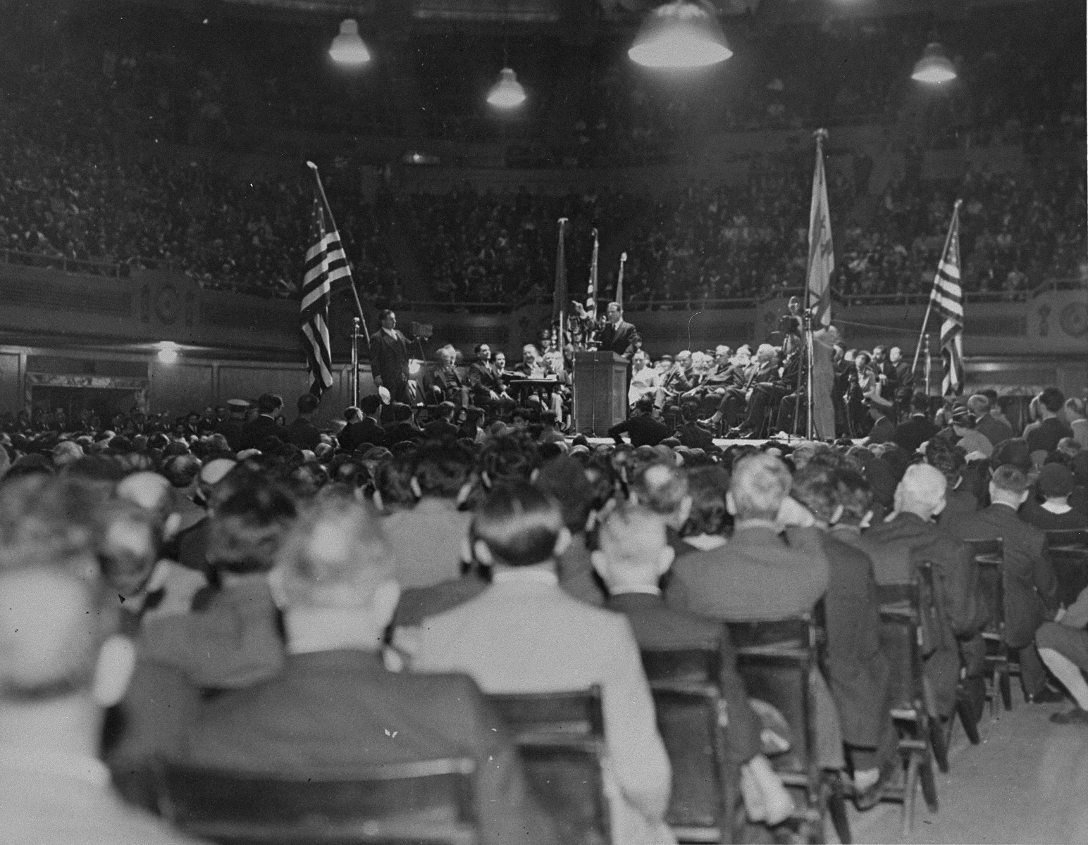 10,000 people listen to an address by Rabbi Stephen S. Wise at Public Hall in Cleveland during a mass meeting to protest against the Nazi persecution of German Jews.