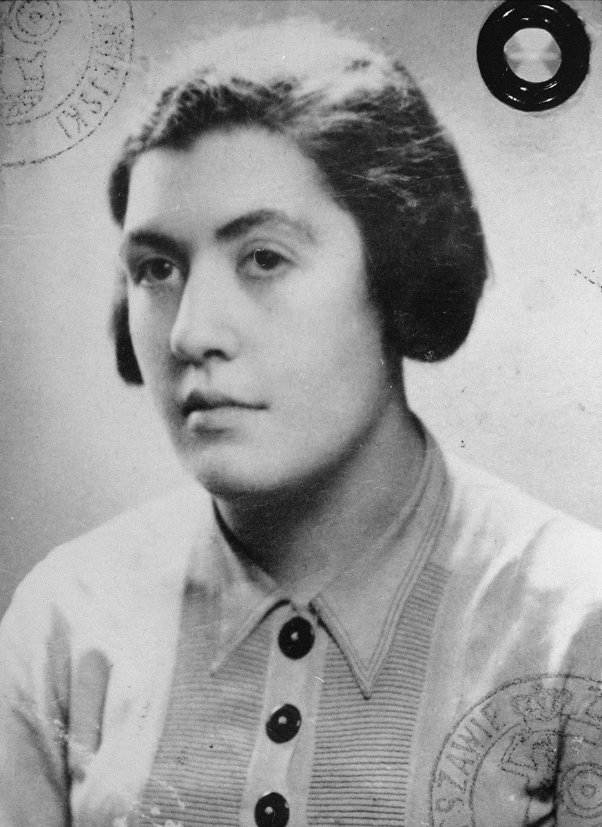 Photograph of Izabela Biezunska used on a false identification card that was issued in the name of Janina Truszczynska.   Biezminska worked for the Council for Aid to Jews, known as Zegota.