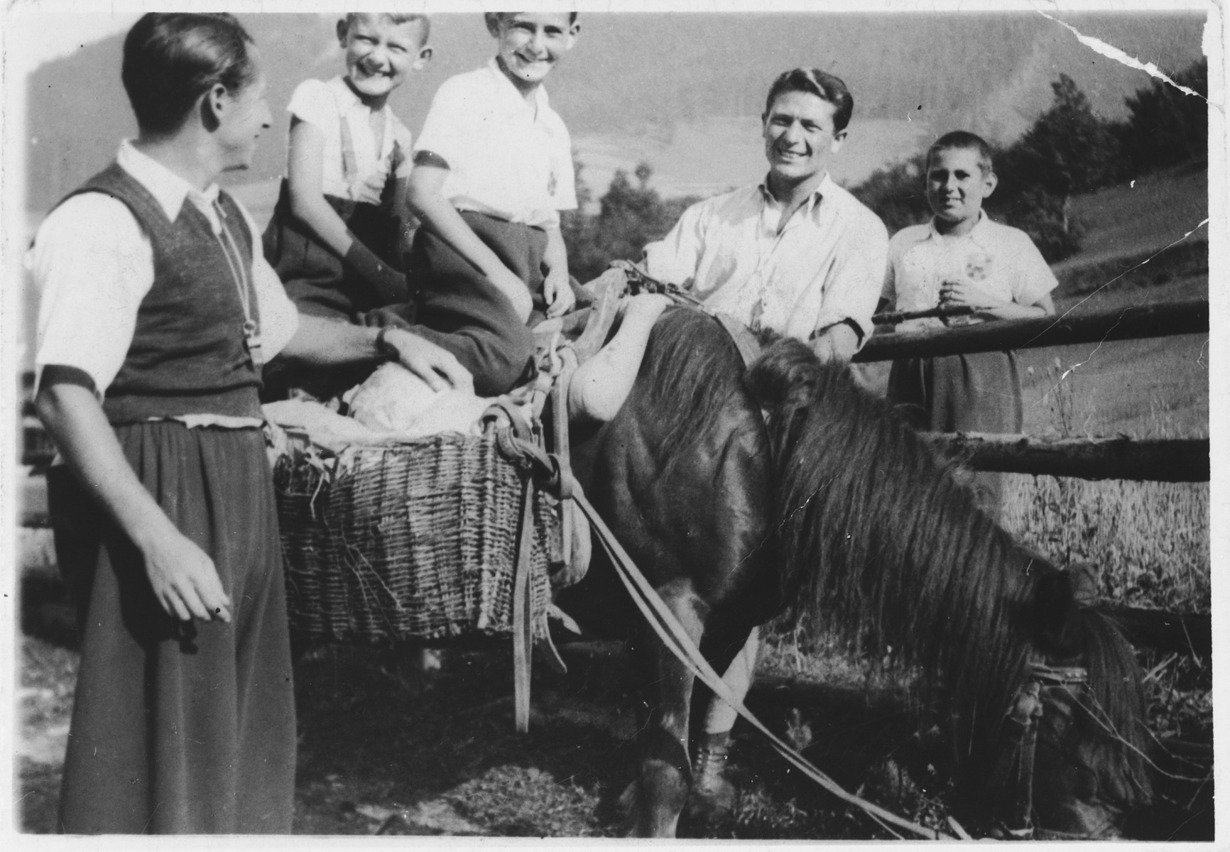 Members of the Bar Kochba group led by Alex Hochhauser go for a horseback ride in the country shortly before their deportation.