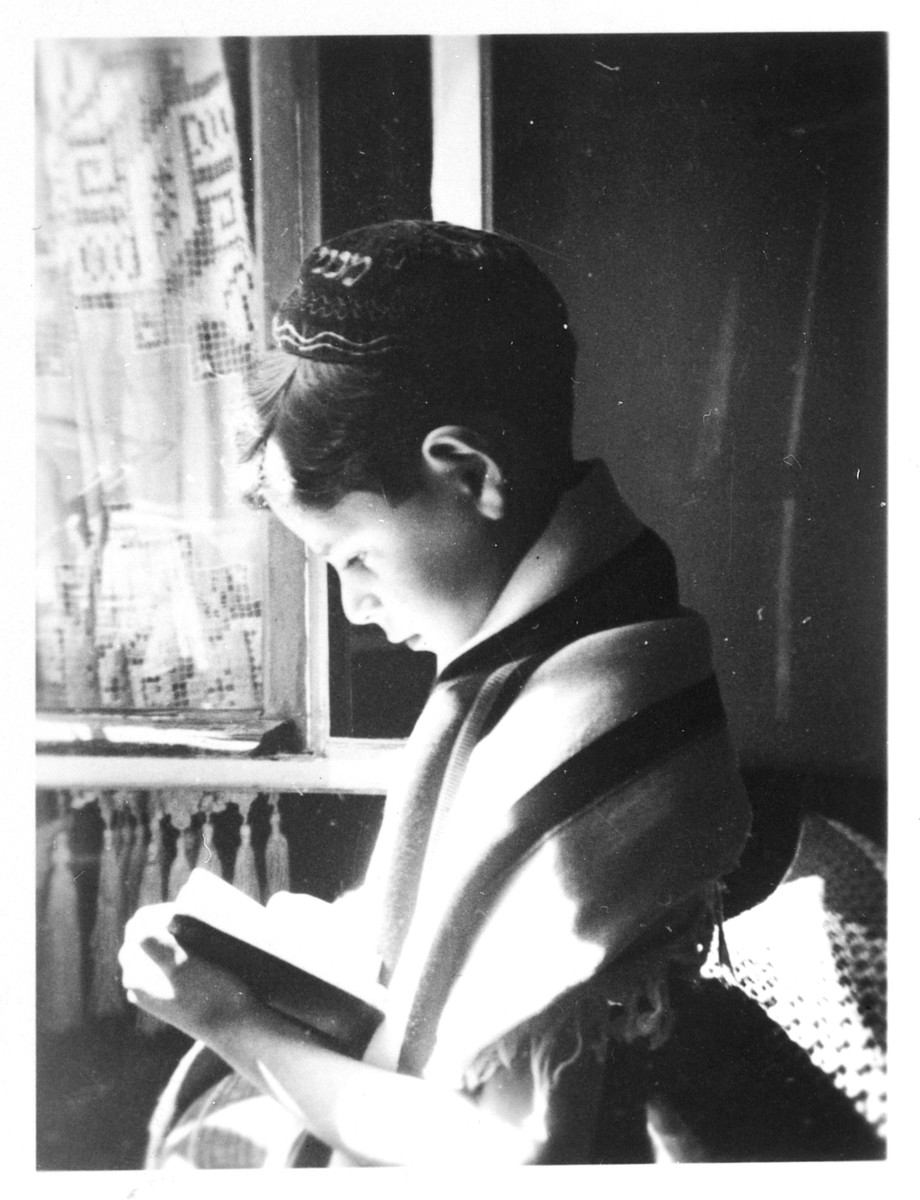 Alex Hochhauser's nephew [either Ernst or Jacob] recites his morning prayers wrapped in a tallit.  He perished in 1942.