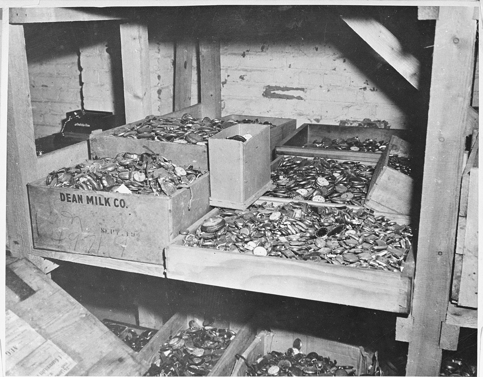 Prisoners' watches confiscated by the SS in Buchenwald and discovered by the First U.S. Army in a cave adjoining the camp.
