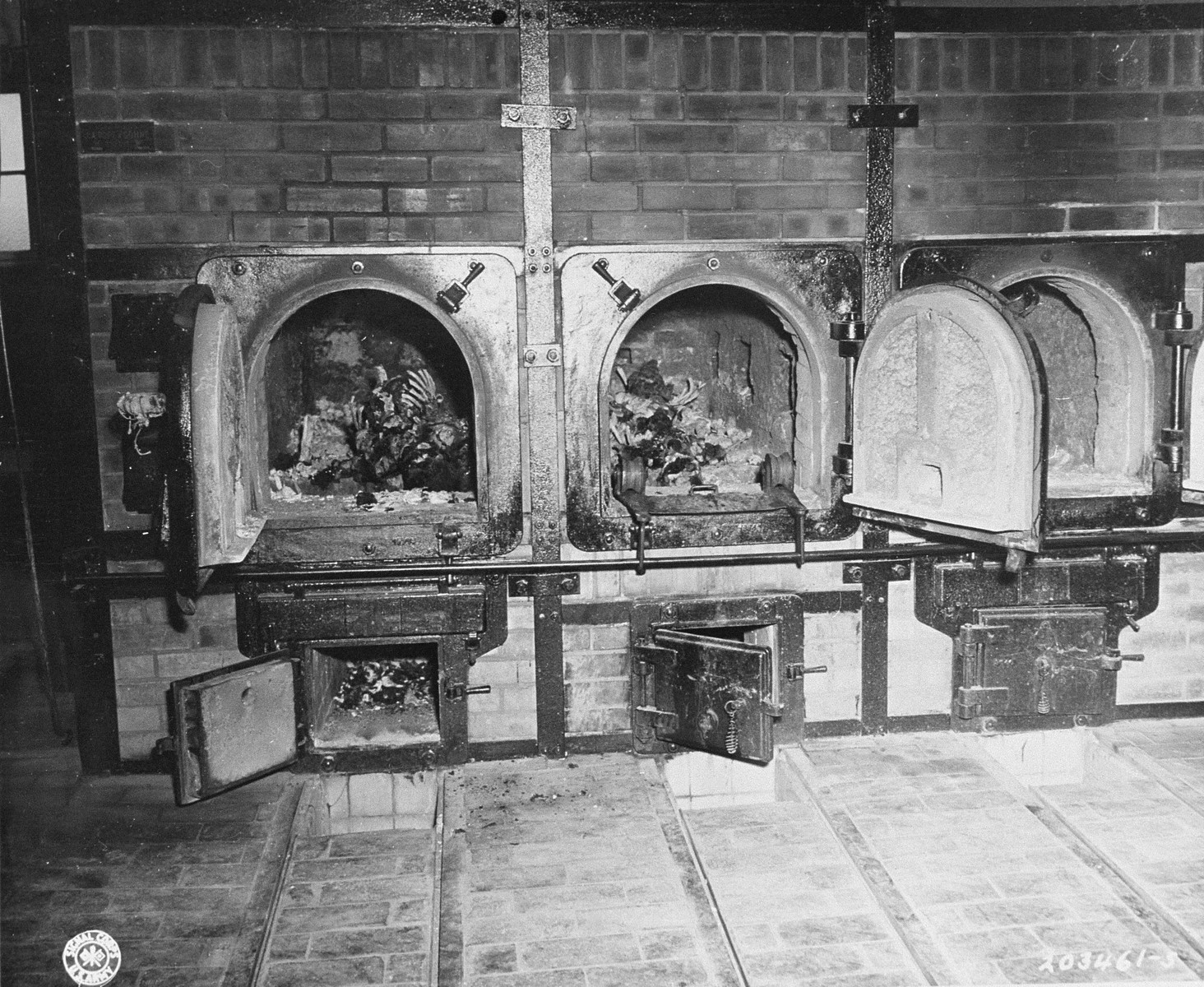 Human remains found by American troops in the crematoria ovens of Buchenwald.